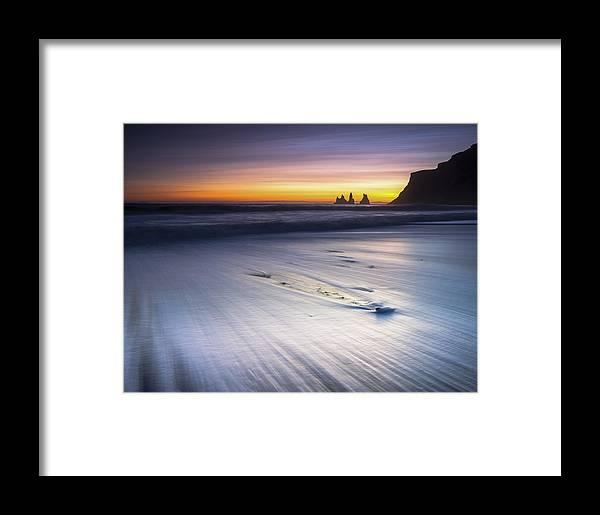 Reynisdrangar Framed Print featuring the photograph Sunset In December by Arnar B Gudjonsson