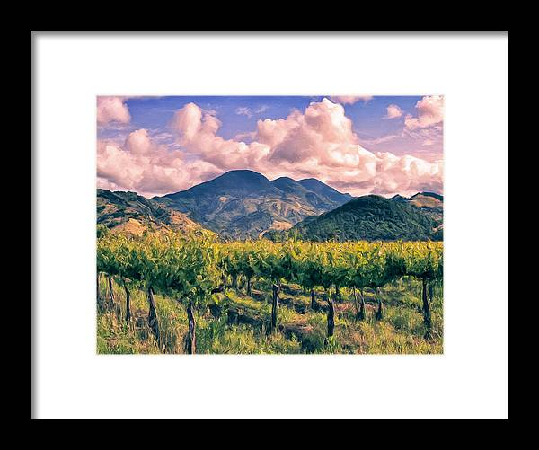 Napa Framed Print featuring the painting Sunset In Napa Valley by Dominic Piperata