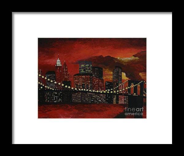 Modern Framed Print featuring the painting Sunset In New York by Denisa Laura Doltu