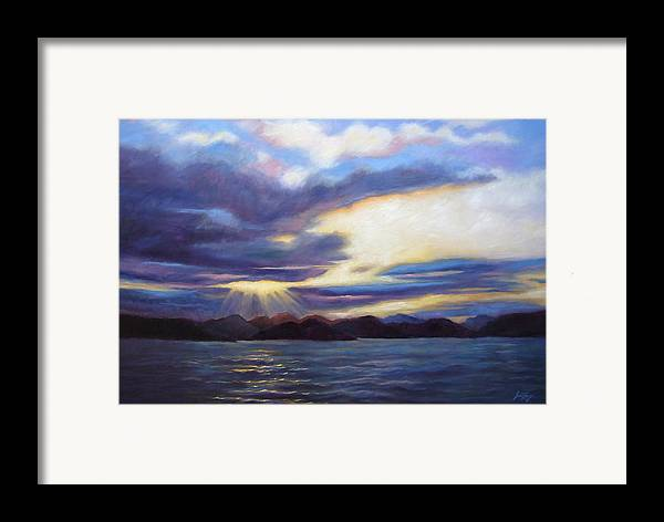 Sunset Framed Print featuring the painting Sunset In Norway by Janet King