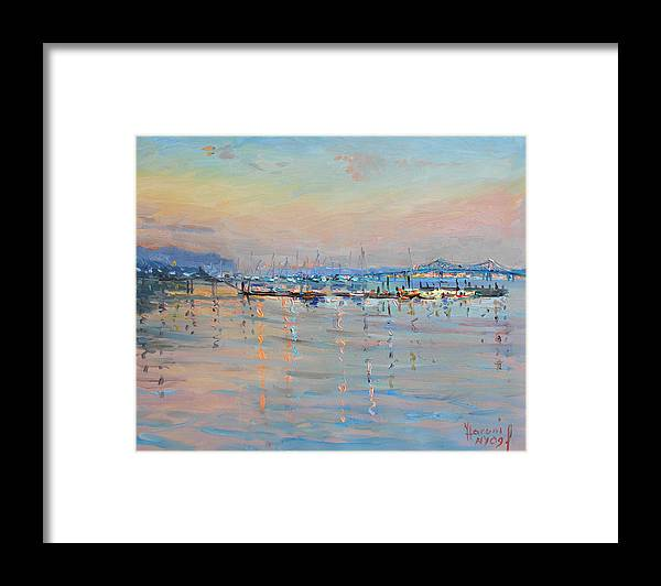 Seascape Framed Print featuring the painting Sunset in Piermont Harbor NY by Ylli Haruni