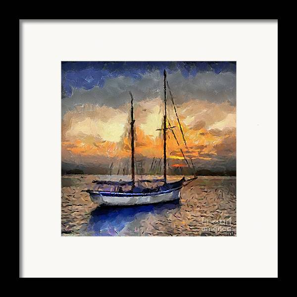 Landscapes Framed Print featuring the painting Sunset In The Bay by Dragica Micki Fortuna