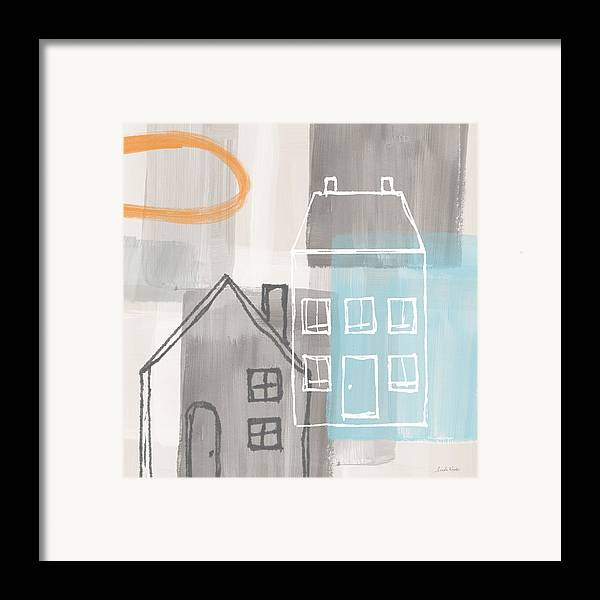 Houses Framed Print featuring the painting Sunset In The City by Linda Woods