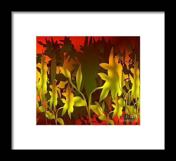Digital Art Graphics Sunset Framed Print featuring the digital art Sunset In The Jungle by Gayle Price Thomas