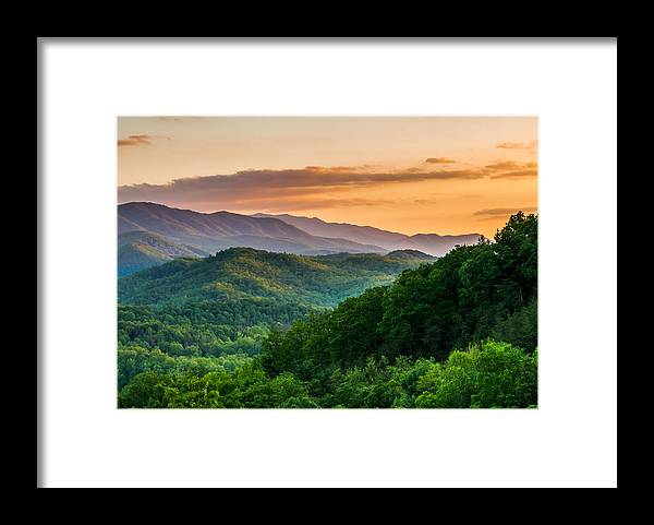 Smoky Mountains Framed Print featuring the photograph Sunset In The Smoky's by Paul Johnson