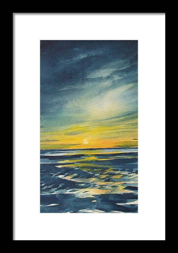 Seascape Framed Print featuring the painting Sunset by Jane See