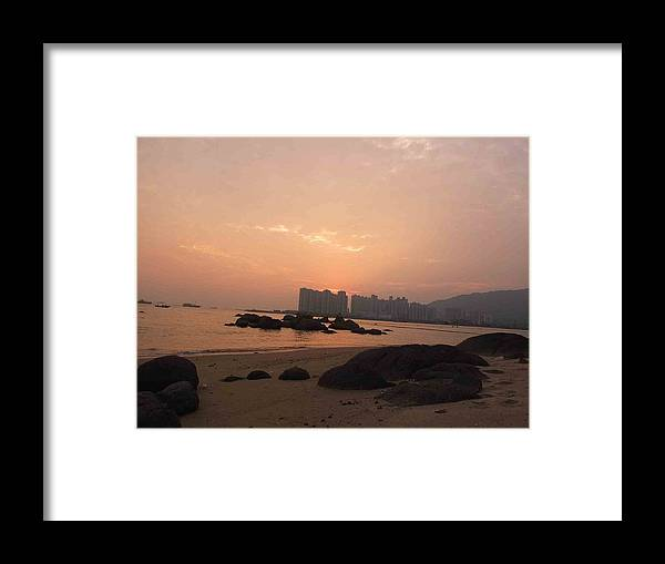 Landscape Framed Print featuring the photograph Sunset by Navin