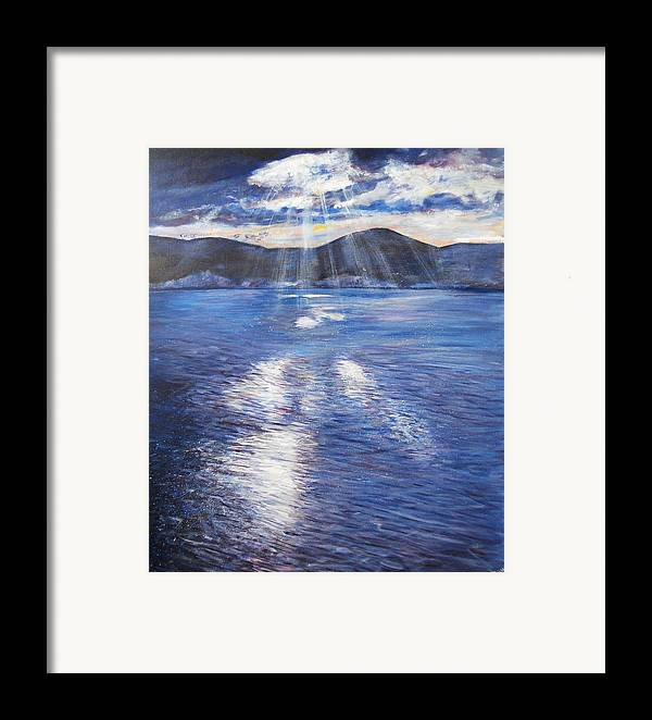 Landscape Framed Print featuring the painting Sunset Near Myrtos Beach Kefalonia by Robina Osbourne