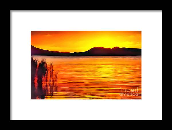 Background Framed Print featuring the digital art Sunset On Balaton Lake by Odon Czintos