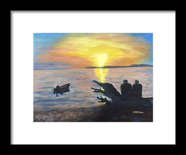 Free Style Framed Print featuring the painting Sunset On Birch Bay by Liz Ekstrom