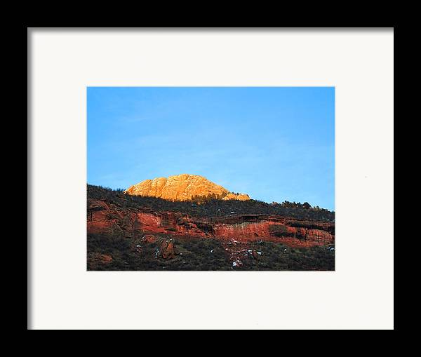 Mountain Sunset Framed Print featuring the photograph Sunset On Horsetooth Mountain by Ric Soulen