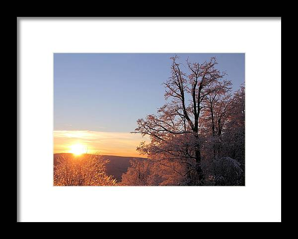 Sunset Framed Print featuring the photograph Sunset on Ice by Carolyn Postelwait