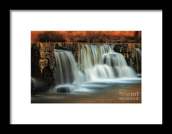 Natural Framed Print featuring the photograph Sunset On Natural Dam by Larry McMahon