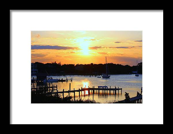 Ocracoke Island Sunset Framed Print featuring the photograph Sunset On Silver Lake by Katherine Kearney