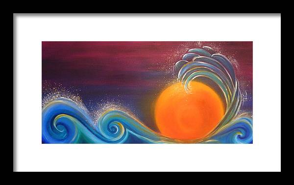 Reina Cottier. Art. Painting Framed Print featuring the painting Sunset On Surf by Reina Cottier