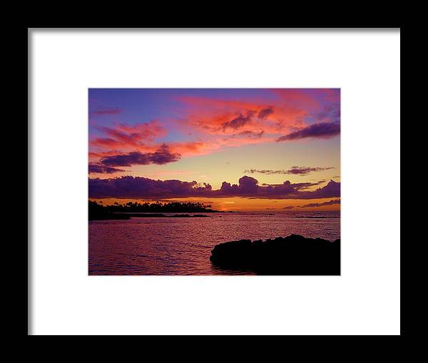 Big Island Hawaii Sunset Beach Lava Purple Orange Pacific Ocean Sand Clouds Photo Photograph Print Image Island Palm Trees Surf Fine Arts Art Print Prints Purple Orange Blue Rock Dusk Sunset Tropics Tropical Hawaiian Green Flash Palms Breeze Framed Print featuring the photograph Big Island Sunset - Hawaii by Scott Carda