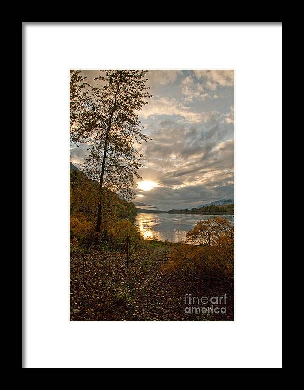 Fall Framed Print featuring the photograph Sunset On The Columbia by Cari Gesch