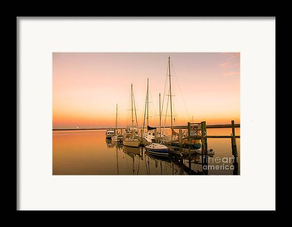 Boats Framed Print featuring the photograph Sunset On The Dock by Southern Photo