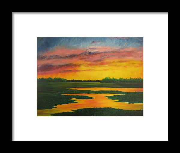 Water Framed Print featuring the painting Sunset On The Marsh by Darla Brock