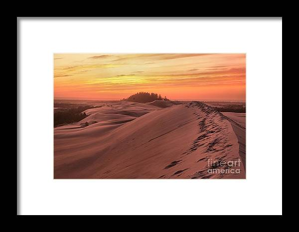 Oregon Dunes Framed Print featuring the photograph Sunset On The Ridge by Adam Jewell