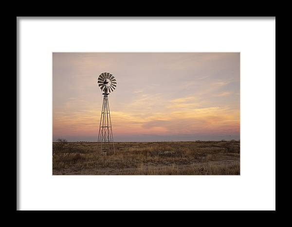 Windmill Framed Print featuring the photograph Sunset On The Texas Plains by Melany Sarafis