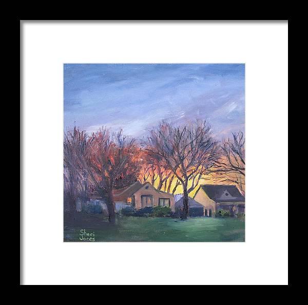 Sheri Jones Framed Print featuring the painting Sunset On Travis Ave. by Sheri Jones