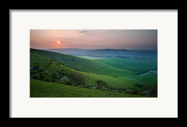 Landscape Framed Print featuring the photograph Sunset Over English Countryside Escarpment Landscape by Matthew Gibson