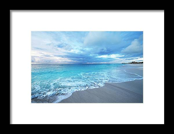 Water's Edge Framed Print featuring the photograph Sunset Over Grace Bay Of Turks & Caicos by Olga Melhiser Photography