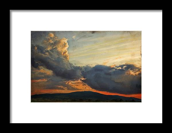 Digital Painting Framed Print featuring the photograph Sunset over Holy Cross Mountains by Anna Gora
