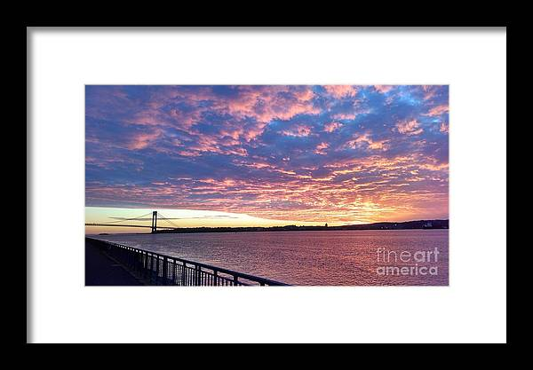 Sunset Over Verrazano Bridge And Narrows Waterway Framed Print featuring the photograph Sunset Over Verrazano Bridge And Narrows Waterway by John Telfer