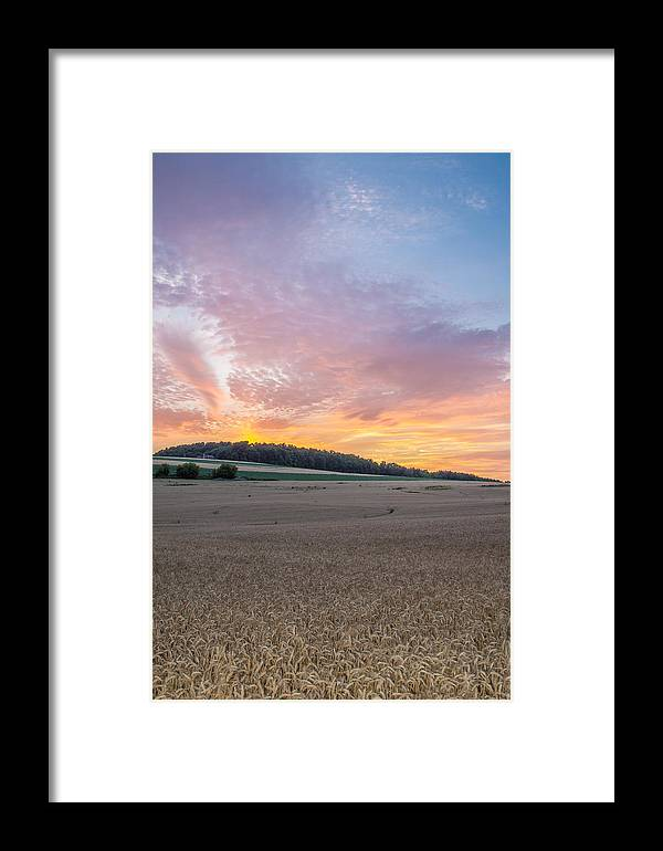 Sunset Framed Print featuring the photograph Sunset Over Wheat by Ray Sheley