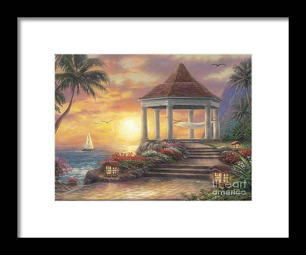 Gazebo Framed Print featuring the painting Sunset Overlook by Chuck Pinson