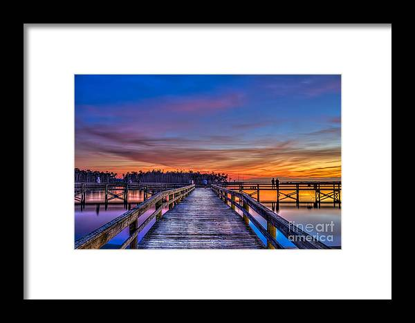 Fishing Pier Framed Print featuring the photograph Sunset Pier Fishing by Marvin Spates