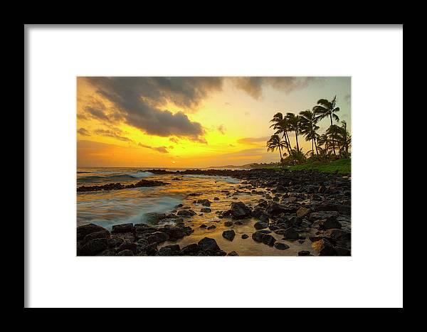 Scenics Framed Print featuring the photograph Sunset, Poipu, Kauai, Hawaii, Usa by Danita Delimont
