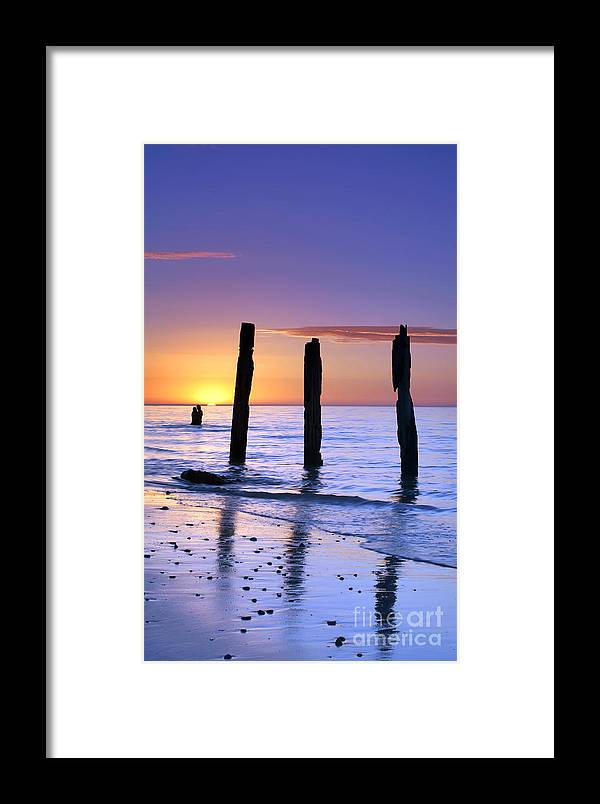 Sunset Jetty Ruin Pylons Beach Posts Port Willunga South Australia Seascape Australian Framed Print featuring the photograph Sunset Romance by Bill Robinson