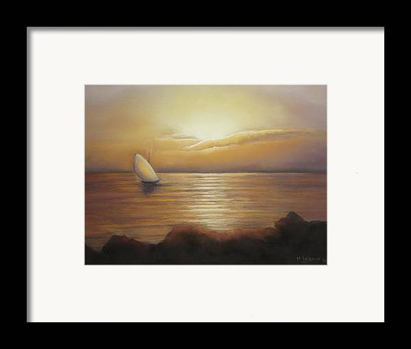 Landscape Framed Print featuring the painting Sunset Sailing by Maruska Lebrun