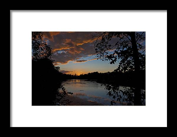 River Framed Print featuring the photograph Sunset Scene At The River by Celso Bressan