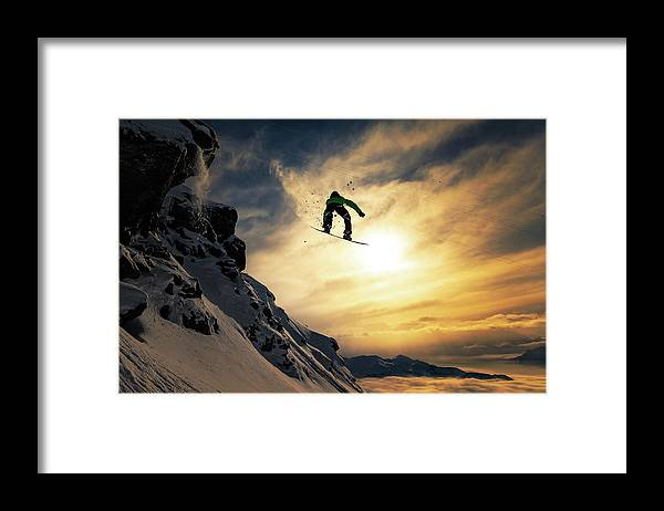 Snowboard Framed Print featuring the photograph Sunset Snowboarding by Jakob Sanne