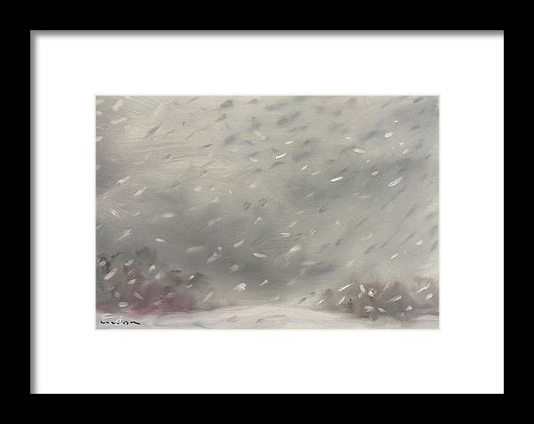 Snow Framed Print featuring the painting Sunset Sunday February 19th 2012 Snowset by William Van Doren