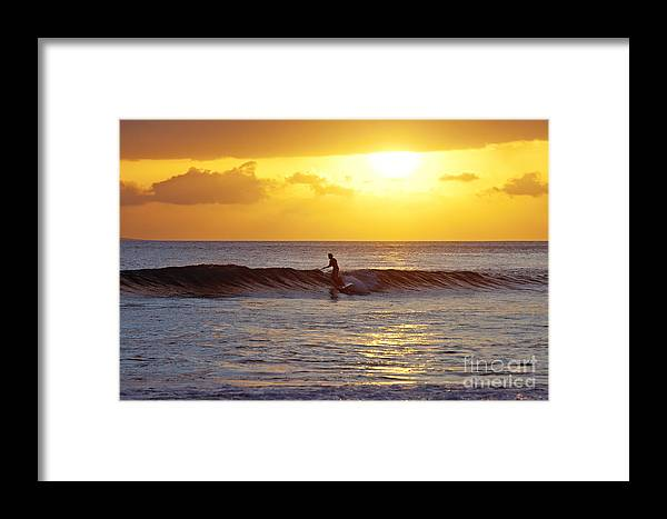 995f3f3ea2abed Stand Up Paddling Framed Print featuring the photograph Sunset Surf Maui by David  Olsen