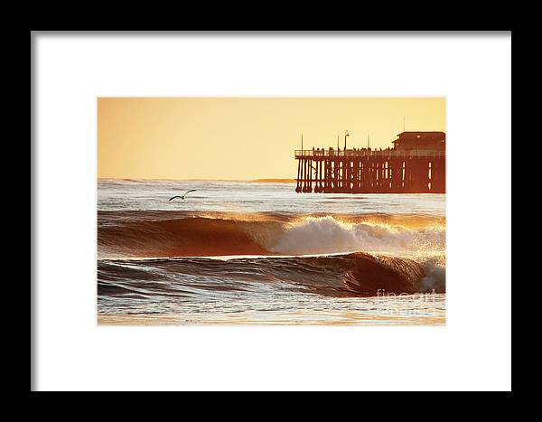 Sunset Framed Print featuring the photograph Sunset Surf Santa Cruz by Paul Topp