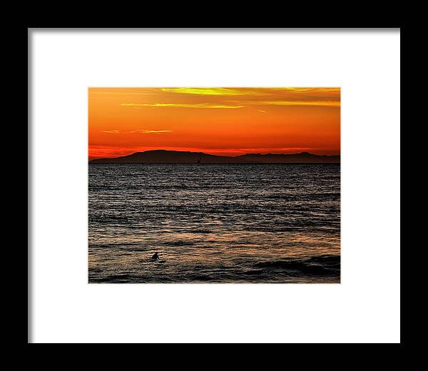 Santa Cruz Framed Print featuring the photograph Sunset Surfer by Michael Gordon