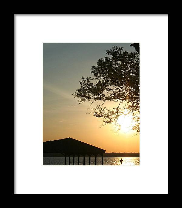 Sunset Framed Print featuring the photograph Sunset Under The Tree By The Water by Stephen Melcher