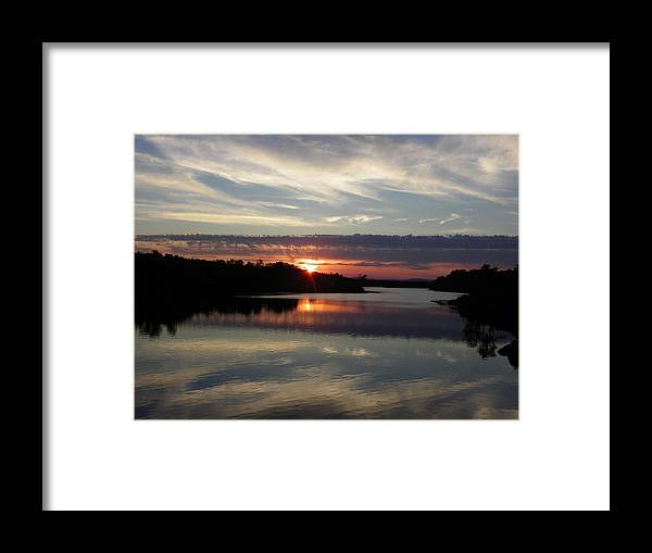 Sunset Framed Print featuring the photograph Sunset Up The Sebec by Georgia Hamlin