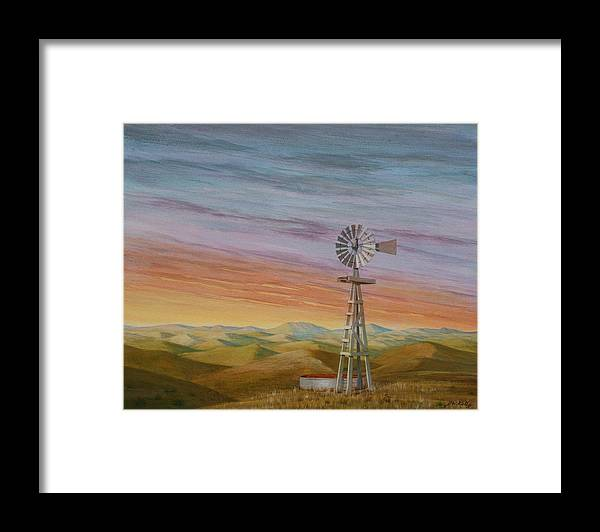 High Plains Framed Print featuring the painting Windmill Sunset by J W Kelly