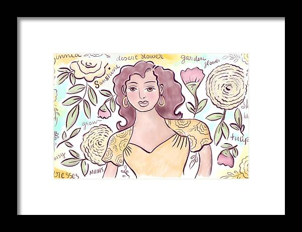 Woman Framed Print featuring the digital art Sunshine Flowers by Elaine Jackson