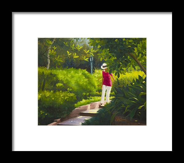 Garden Framed Print featuring the painting Sunspots and Shadow by Gary Hernandez