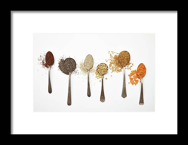 White Background Framed Print featuring the photograph Super Food Grains by Lew Robertson