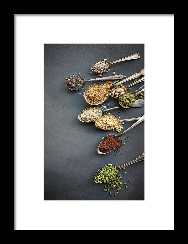 In A Row Framed Print featuring the photograph Super Food Grains On Spoons by Lew Robertson