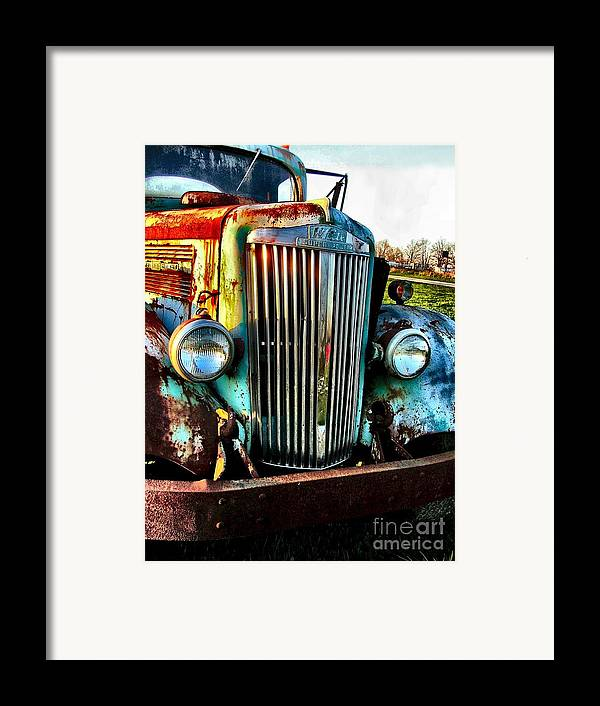 Antique Automobiles Framed Print featuring the photograph Super White Power by Julie Dant